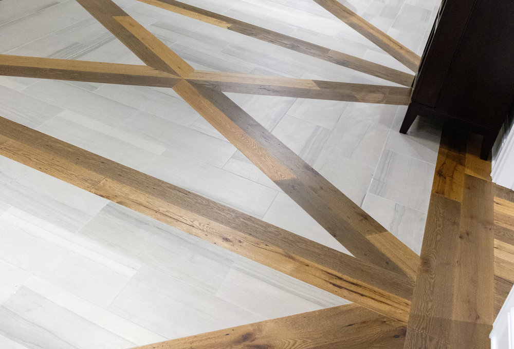 light gray and brown wood flooring