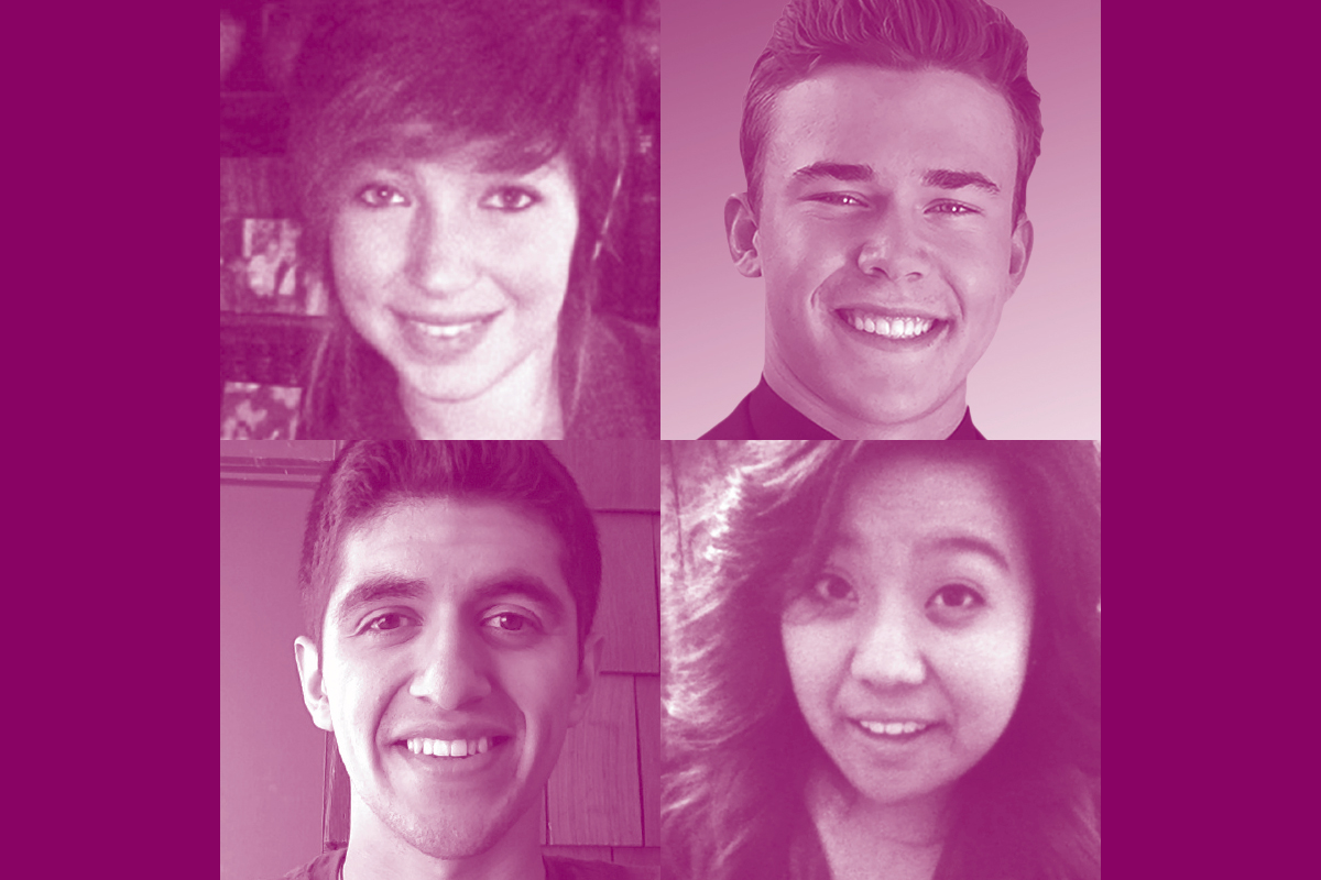 (upper left)  Tait  – Attends UC Berkeley's College of Letter and Sciences studying Anthropology and Theater.  (upper right)  Dylan  – An Encinal High School graduate, attends U.C. Berkeley where he studies Environmental Design.  (lower left)  Emilio  – A graduate of St. Joseph Notre Dame High School, attends Santa Clara University and is pursuing Sociology and Musical Theater.  (lower right)  Camille  – Another Encinal High School graduate, attends San Jose State University and studies Biomedical Engineering.