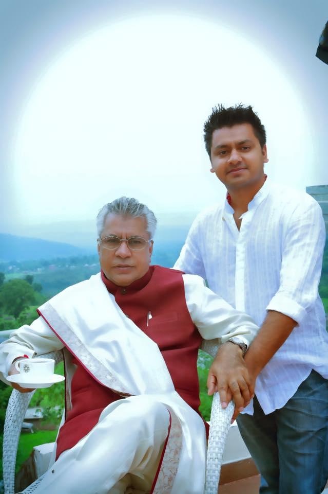 Chandresh with his Guru and father,  His Holiness Shree Chamunda Swami.