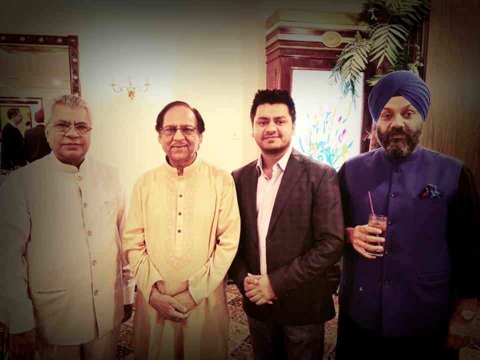 Chandresh with His Holiness Shree Chamunda Swami, Ghulam Ali, and Manjeet Singh GK