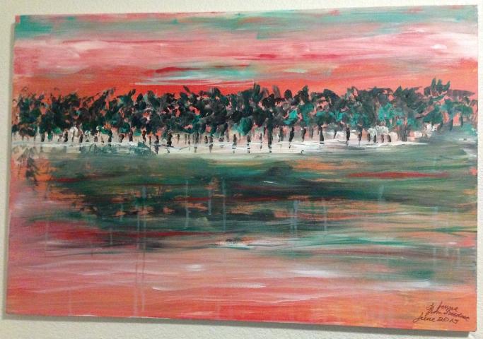 Grapevine Lake at Sunset by Christy Ann Watenapugh