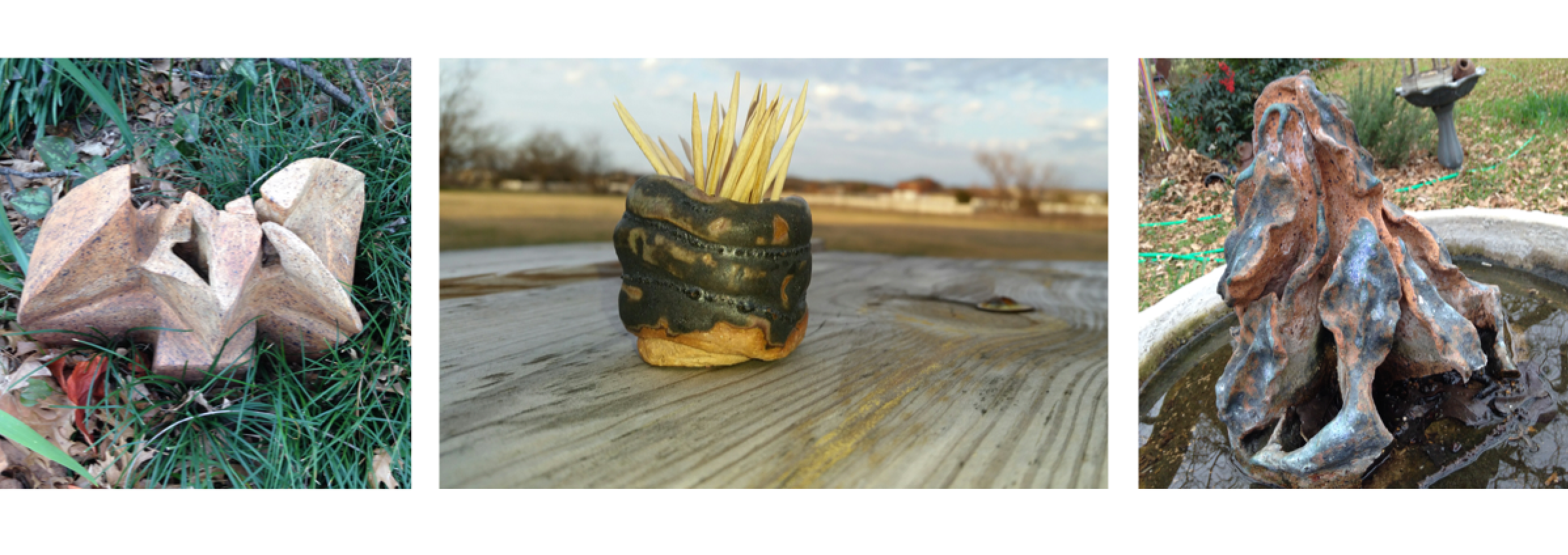 Raku fired handbuilt ceramic sculpture, handbuilt coil pot with dark glaze, and handbuilt ceramic sculpture with blue glaze in a bird bath by Christy Ann Watenpaugh