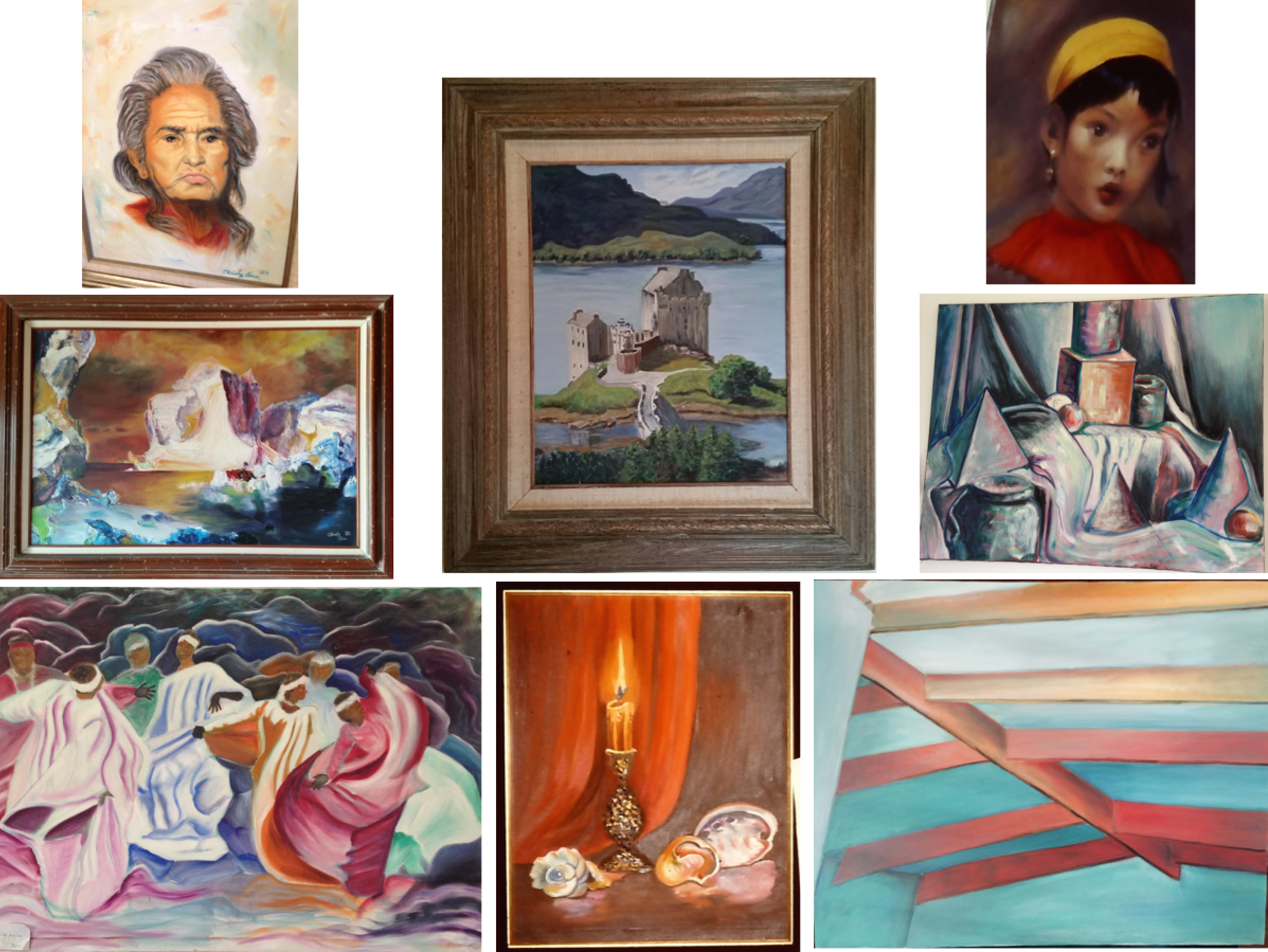 Left column:  Chief Dan George, variation on Frederic Edwin Church's  The Icebergs , and  Native Rhythm by Christy Ann Watenpaugh                                                                             Middle column: Eilean Donan Castle  and Still life with shells and candle by Christy Ann Watenpaugh                                                                                                     Right column: National Geographic cover portrait, Study in White, and Ceiling beams by Christy Ann Watenpaugh