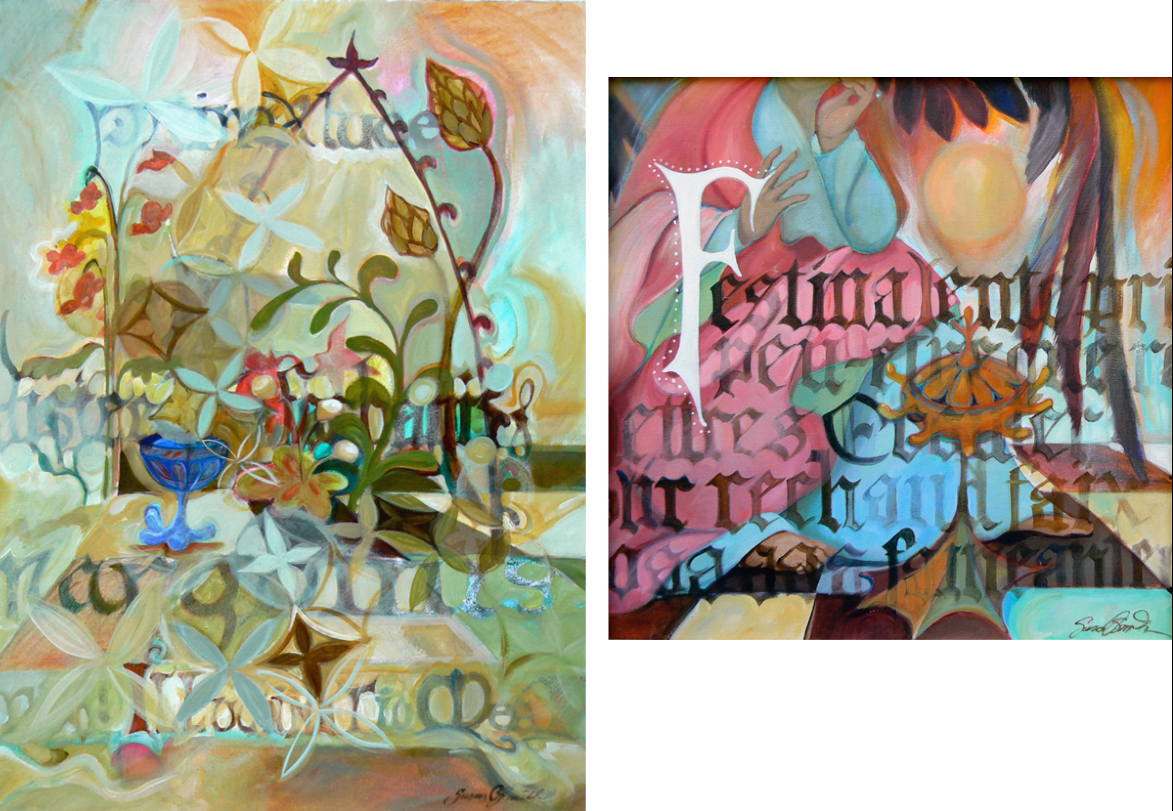 Prima Luce and  Faineanter   in acrylic by Susan Smith