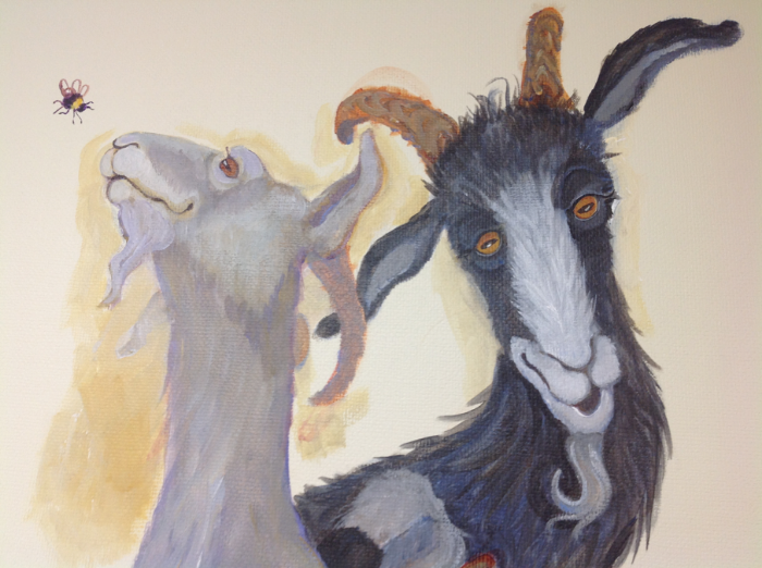 Goats , Groesbeck mural, in acrylic by Susan Smith