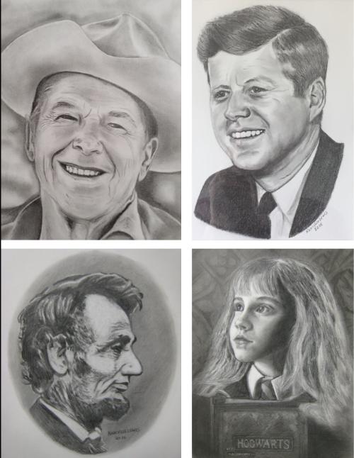 Four Portraits, pencil, by Nancy Lee