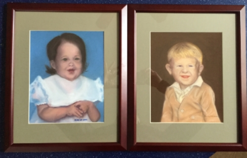 Two child portraits, soft pastel, by Nancy Lee