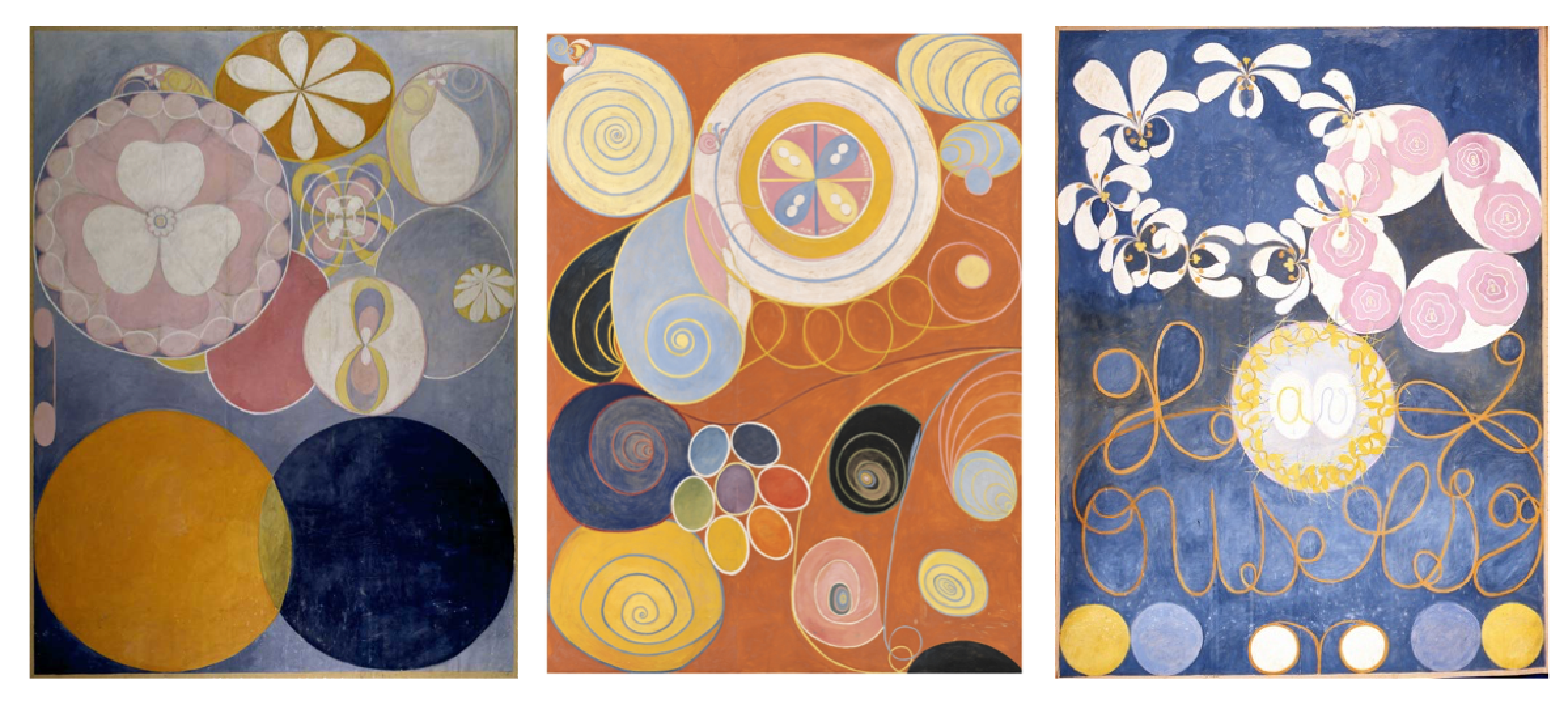 Three paintings from the  De Tio Största (The Ten Largest)  series by Hilma af Klint, 1907