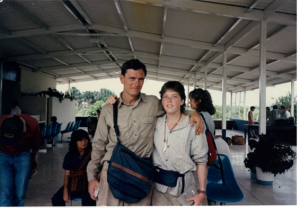 Doug Stufflebeam and Kathleen Rauch in Lago Agrio airport, circa 1986