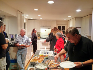 Tom Waterer (foreground) and guests at the Tripper reunion enjoying great food and friends
