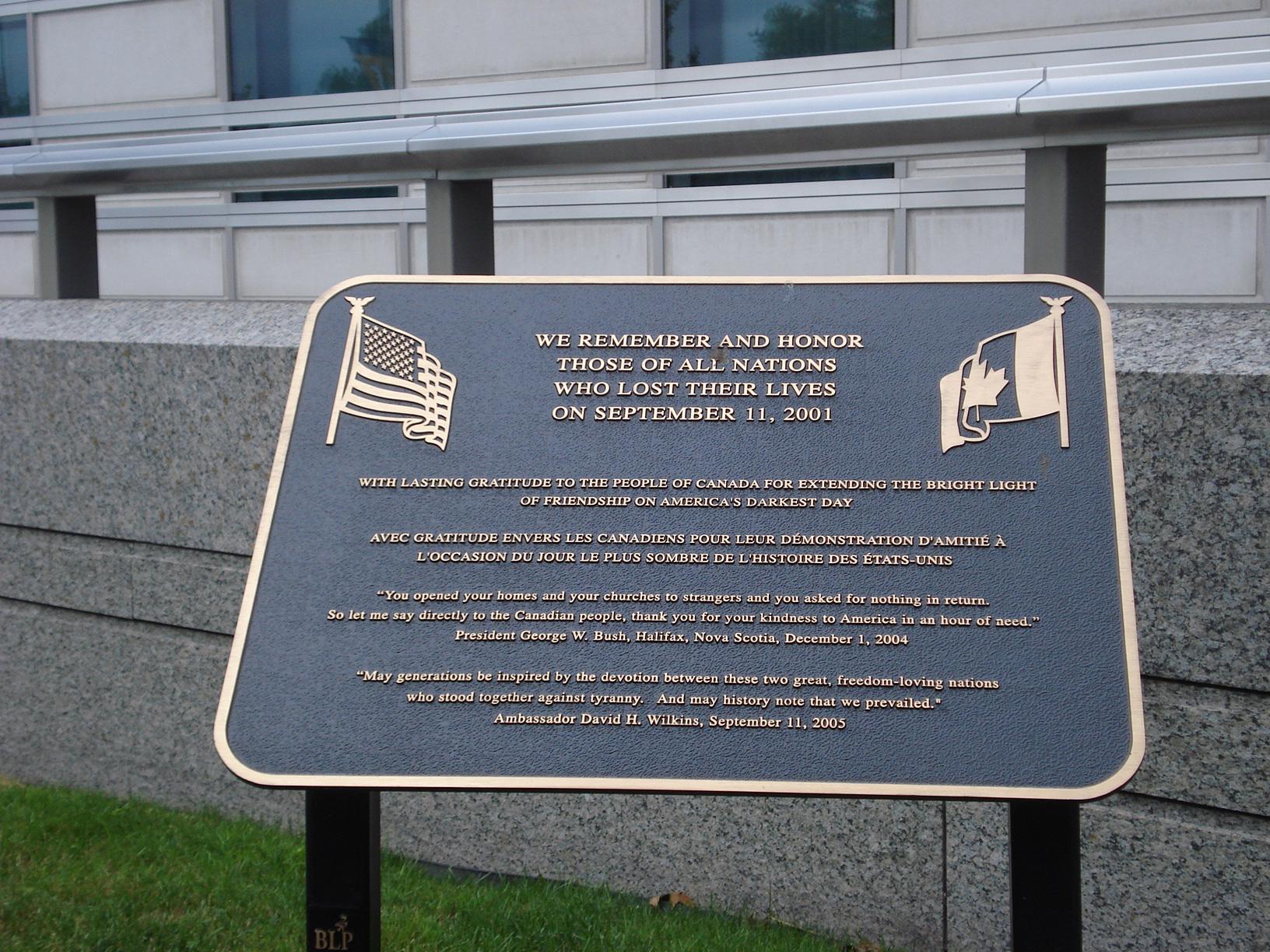 US Embassy Memorial Plaque - Ottawa, Canada