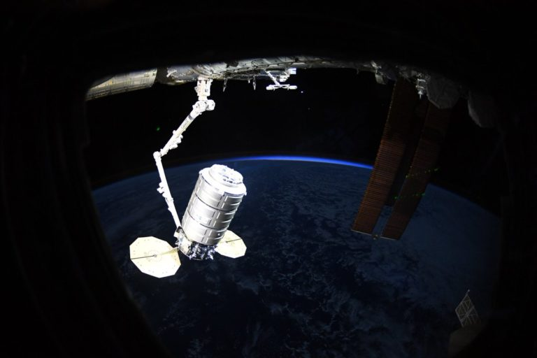 Cygnus supply ship delivers 3.8-ton cargo load to International Space Station - Published on April 19th, 2019, in Spaceflight NowNASA flight engineer Anne McClain grappled Northrop Grumman's Cygnus supply ship with the International Space Station's robotic arm Friday, marking the automated cargo freighter's arrival after an abbreviated day-and-a-half-long journey from a launch pad in Virginia with nearly 7,600 pounds of experiments, food and provisions.