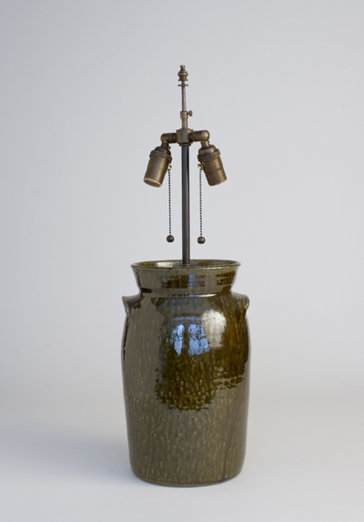 SCDS #04-24-MM-00-AB Sid's crock table lamp in metallic moss glaze 2 gallon