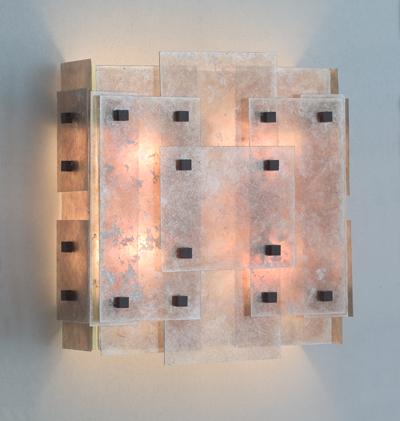 SCDS #03-02-MI-WE-BS Carolina Cubist wall sconce three quarter lit.jpg
