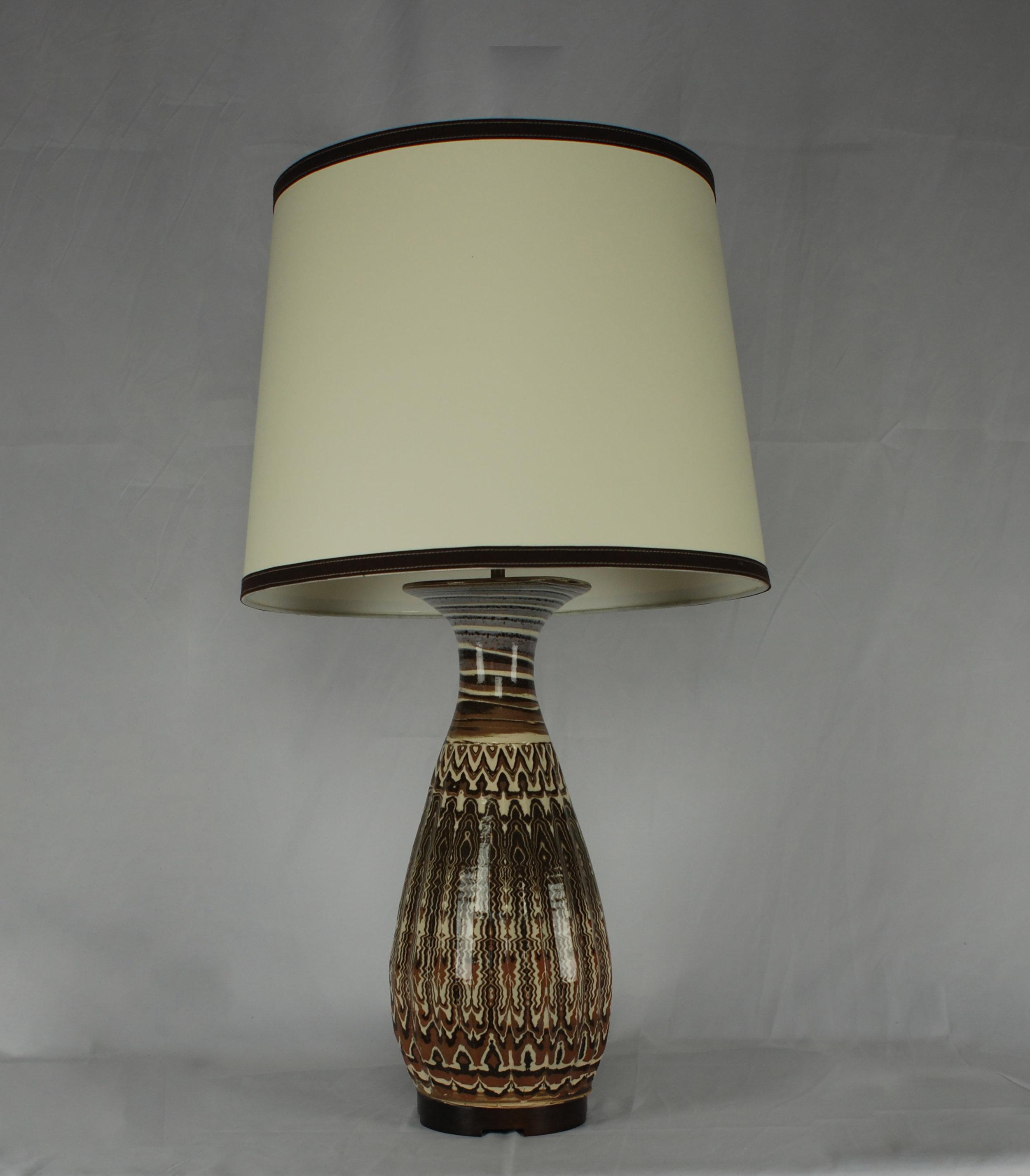Karnak table lamp in Agateware with drum shade.jpg