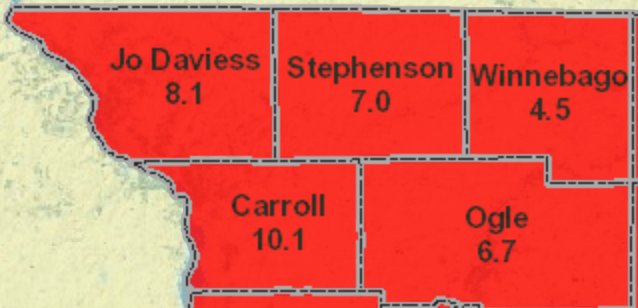 Average Radon Levels for Northwest Illinois