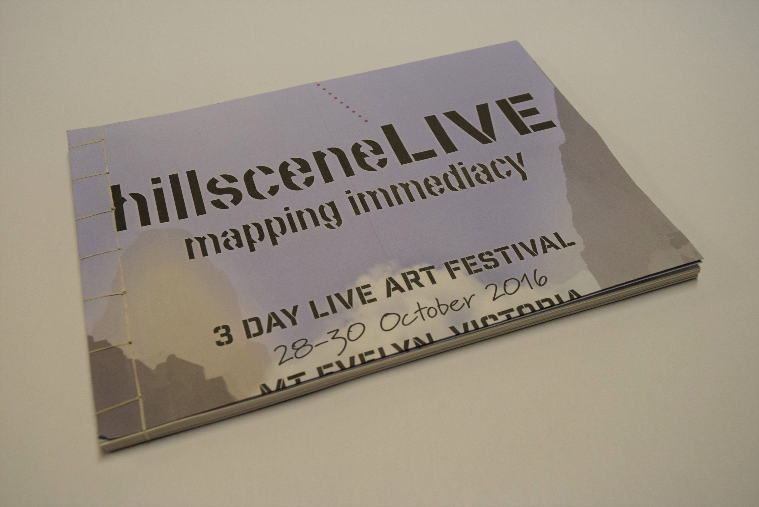 In October 2016 I took part in hillsceneLIVE, a three-day arts festival in Mount Evelyn, Victoria. I asked participants to create a collage which was then photocopied and folded into an 8 page zine. A flat copy of each creation was bound using Japanese stab stitch.