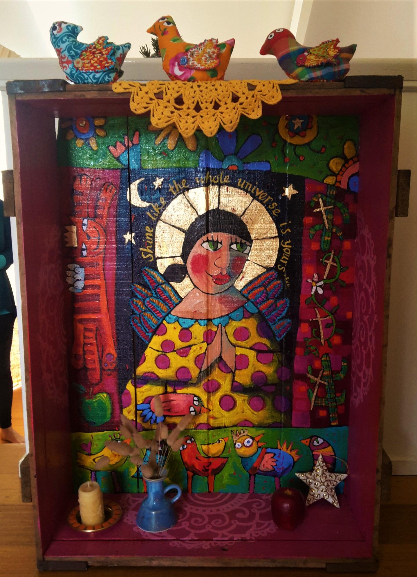 """Shiny shrine of the apple crate Madonna"" by Sara Catena"