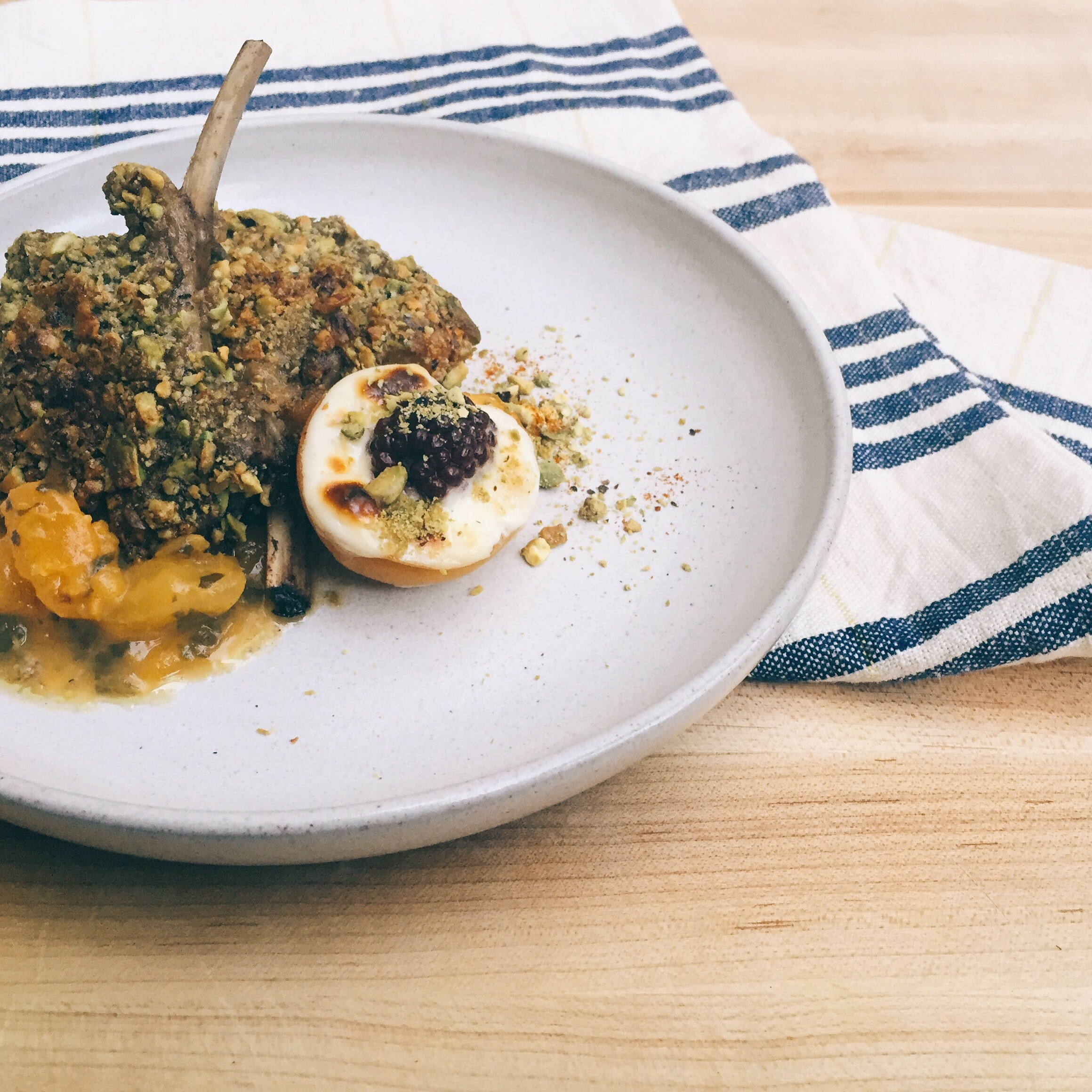 { Pistachio crusted lamb chop served with apricots two ways }