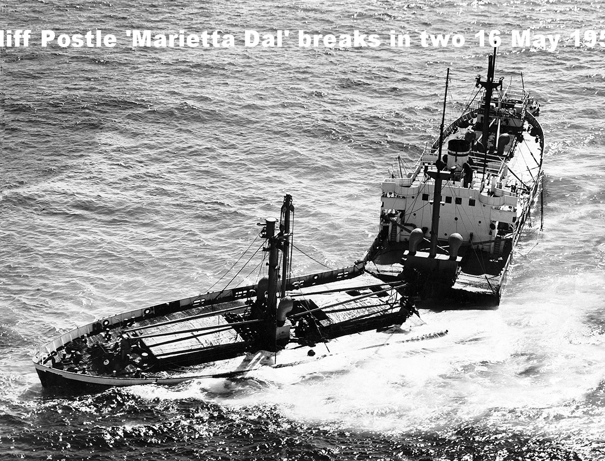 'MARIETTA DAL' BREAKS IN TWOOn 15 May 1950, the 'Marietta Dal' with her cargo of tractors is stuck fast on 'Smith Rock' in Moreton Bay. Here the cargo ship is seen breaking in two the following day, and later that night would slip to the bottom of the bay. [Large folder #L2]PHOTO: 16 May 1950