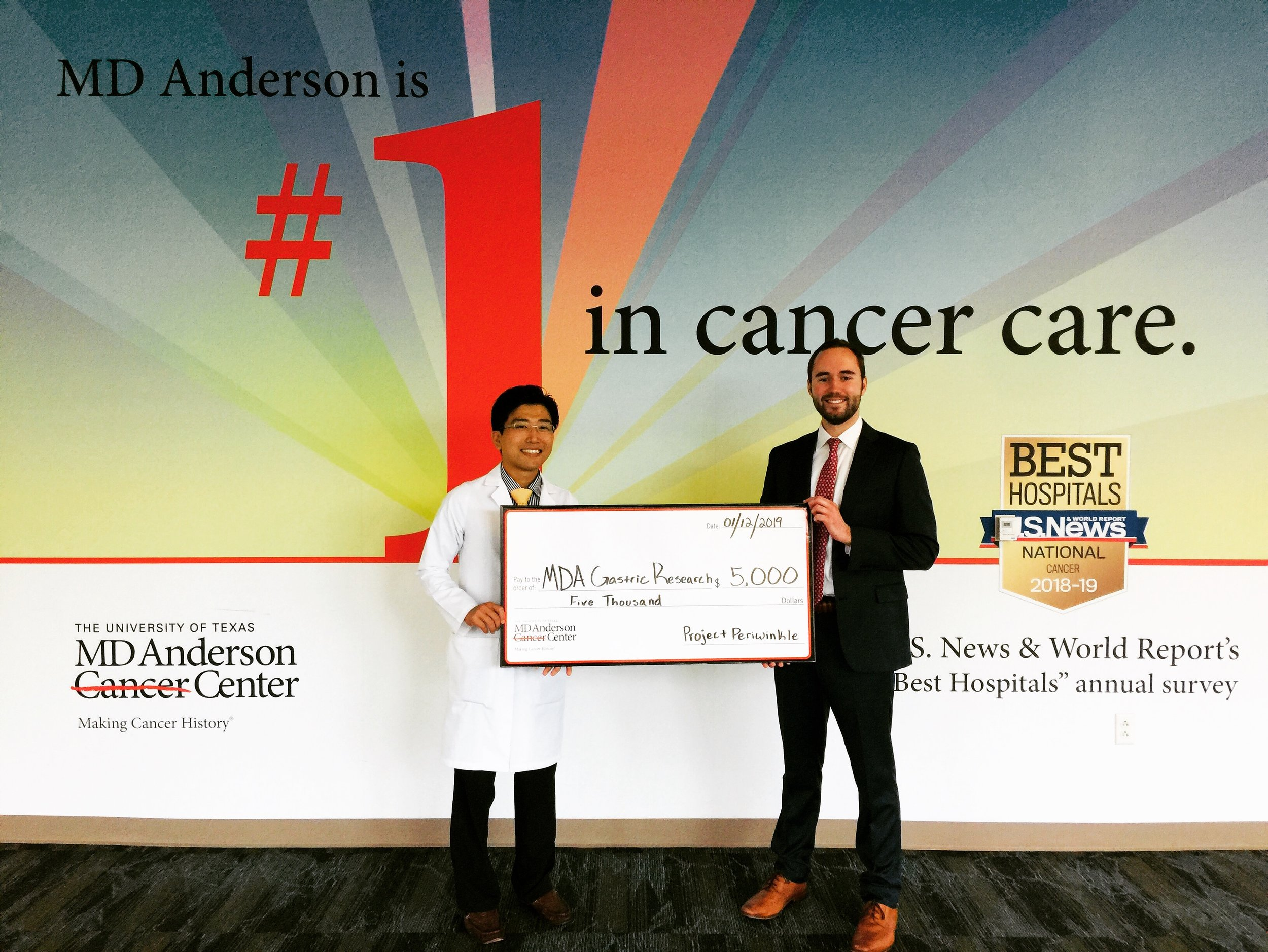 On January 12, 2019, founder and president, Ben Broghammer, formally presented our gift to MD Anderson, pictured with Dr. Naruhiko Ikoma, MD, MS, who is one of three physicians leading the gastric cancer research program at the center.