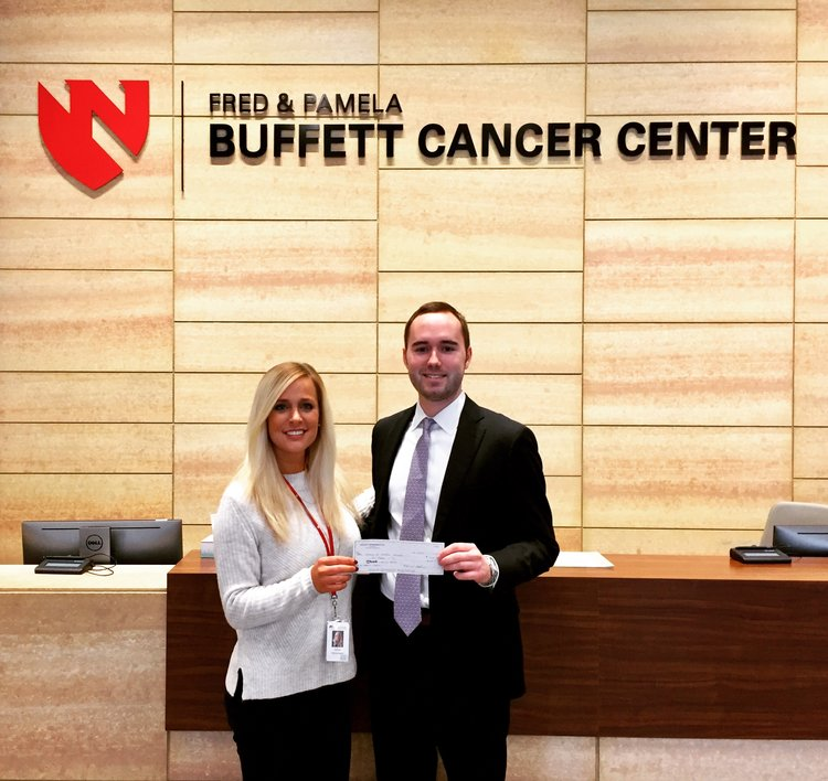 Founder and President, Ben Broghammer, presents Project Periwinkle's contribution to the Fred & Pamela Buffett Cancer Center at the University of Nebraska Medical Center in Omaha, NE on February 24, 2018, supporting the Gastrointestinal Research Program.