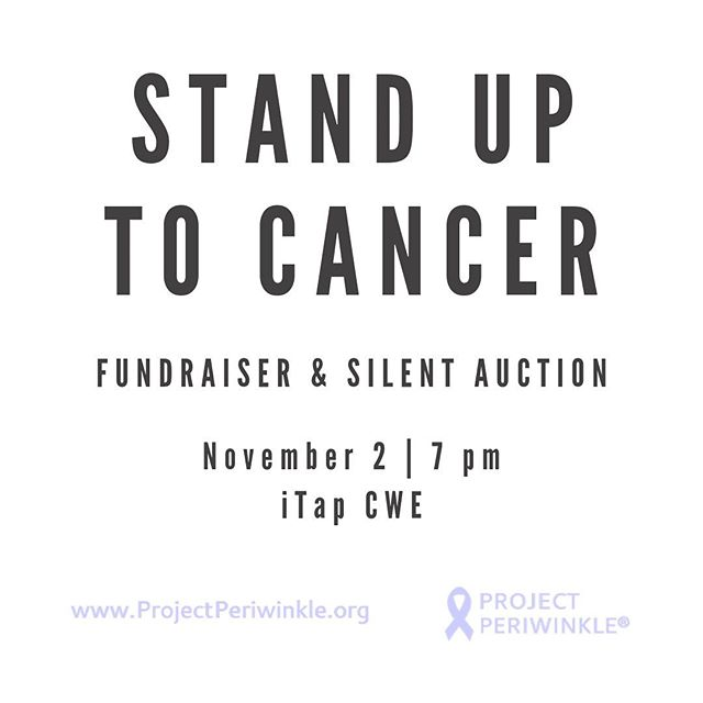Join us for a special night benefiting our work and our mission!  Every dollar raised supports cancer research and creating a better world! . Fundraiser and Silent Auction Saturday November 2, 2019 International Tap House - CWE 16 S. Euclid Ave. Saint Louis, MO 63108 . RSVP on our website, ProjectPeriwinkle.org/stl