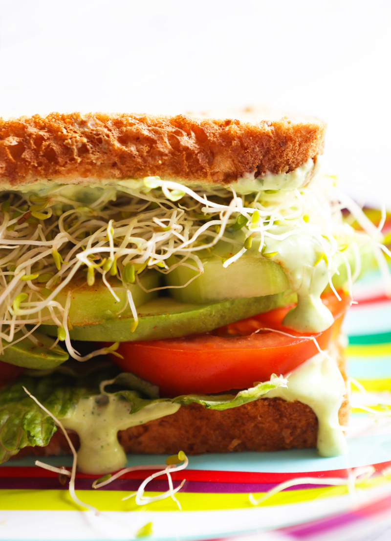 A sandwich with sprouts, cucumbers and tomatoes with avocado ranch dressing spilling out