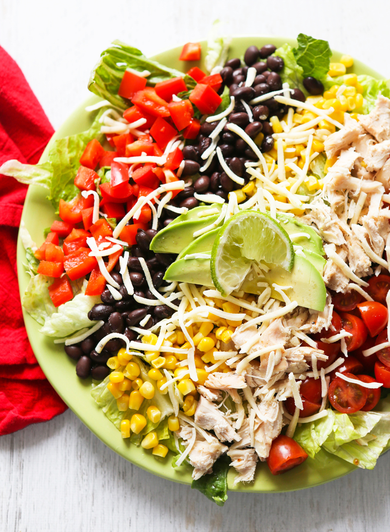 top view of southwest chicken salad
