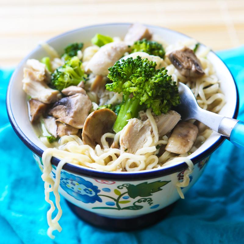 bowl full of chicken mushroom and broccoli ramen noodle recipe