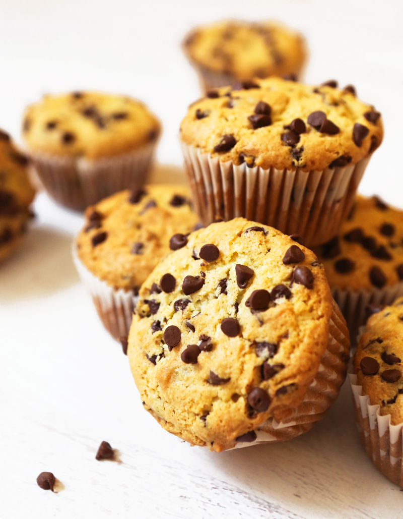 stack of easy chocolate chip muffins on a counter