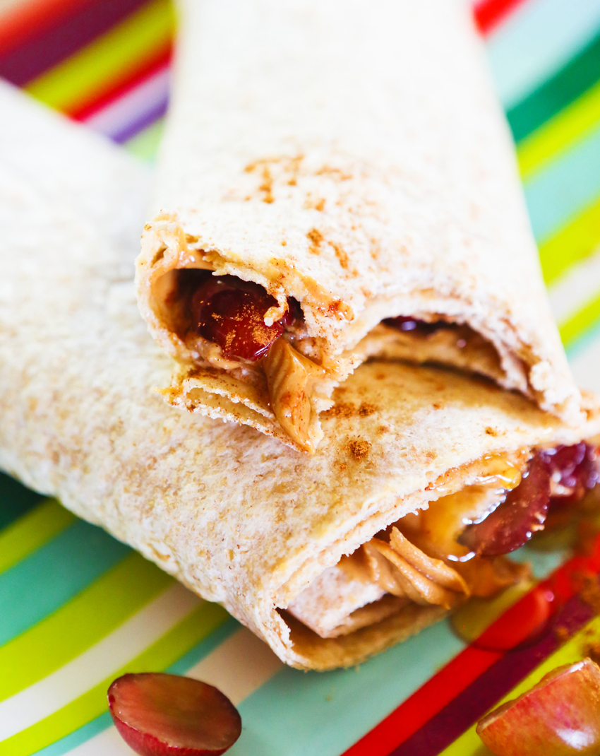 peanut butter honey grape wraps stacked.