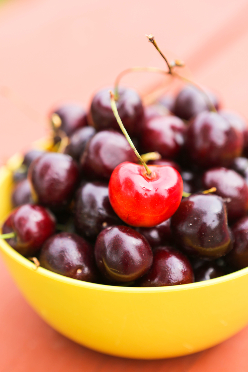 Close up of a bowl of cherries.