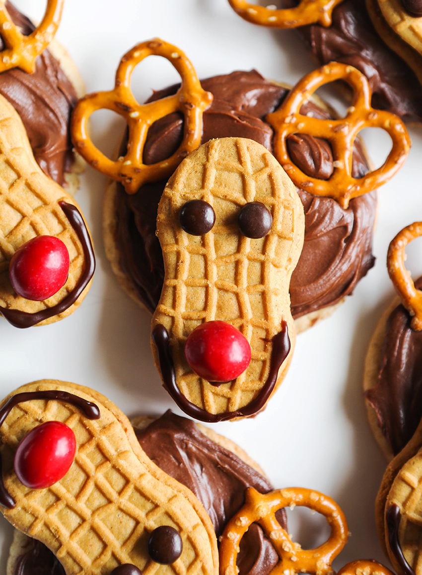 reindeer cookies with M&M's for noses