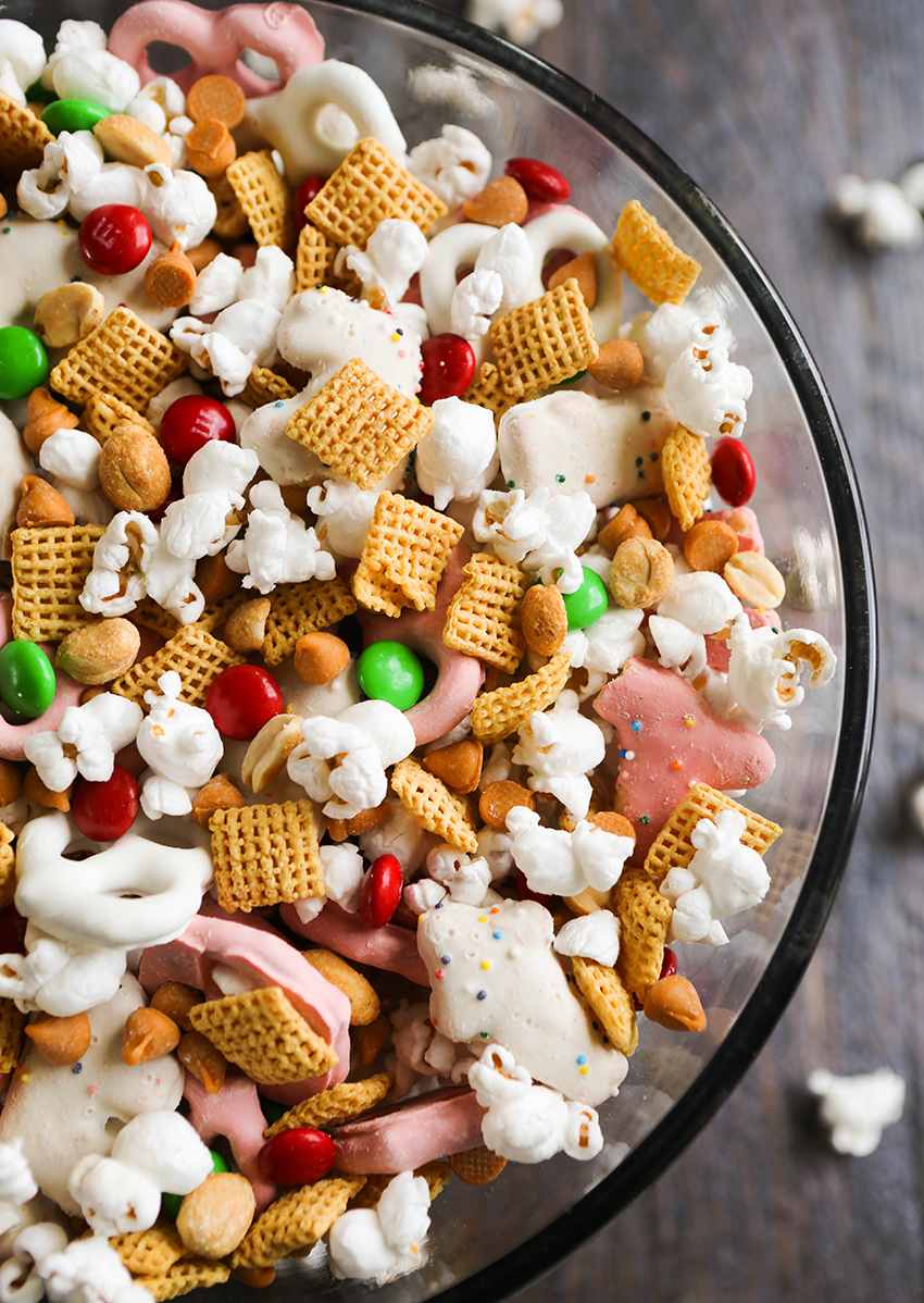 top view of huge serving bowl filled with holiday snack mix