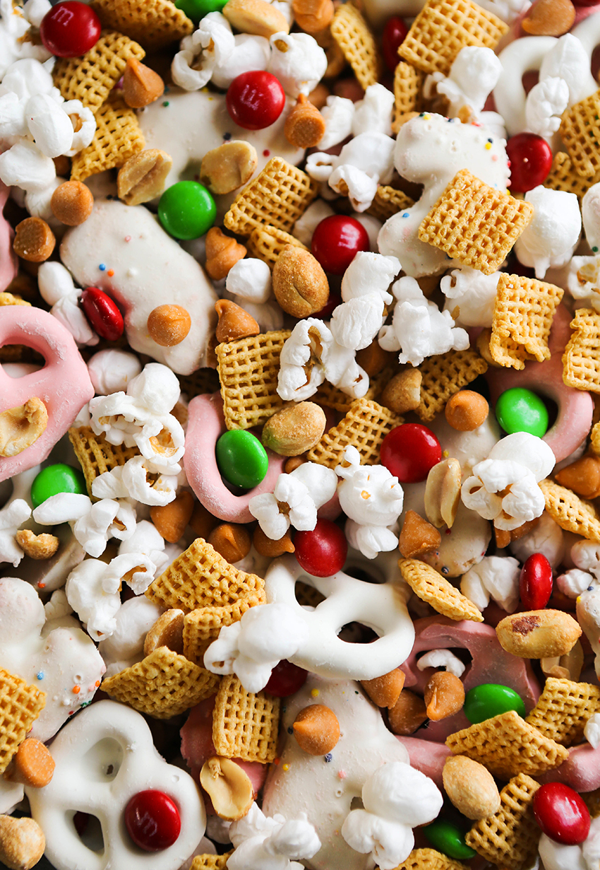 super close up of holiday snack mix ingredients