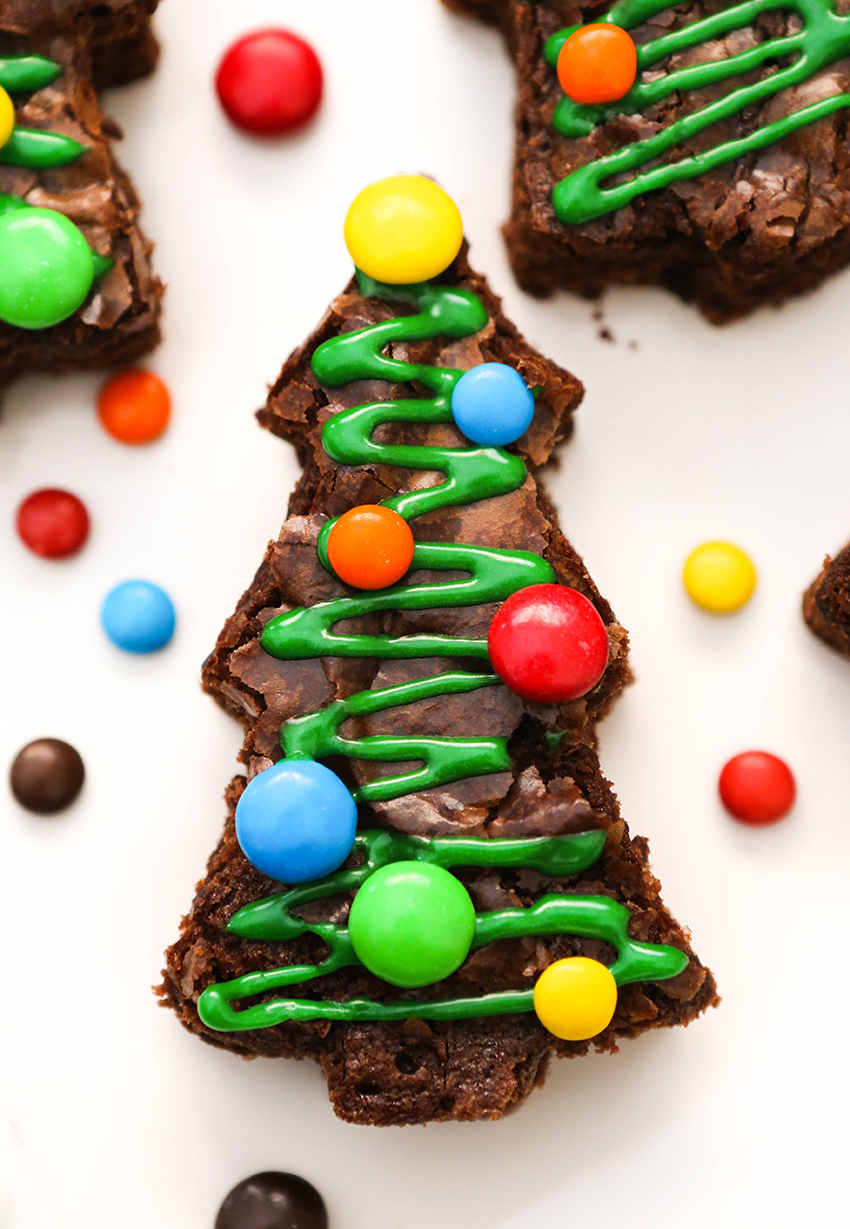 close up of a christmas tree brownies decorated with green frosting