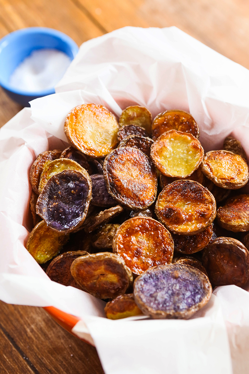 serving bowl of whole 30 chips in parchment paper