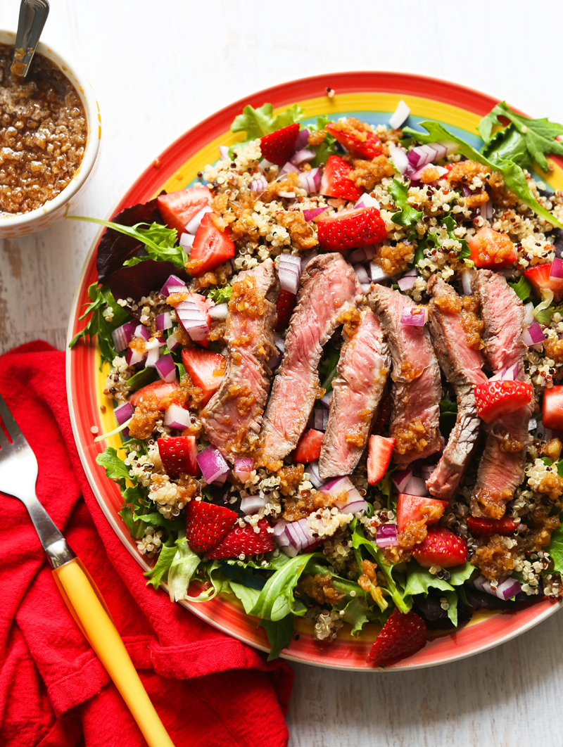 Steak Salad with Quinoa, Strawberries and Ginger Sauce