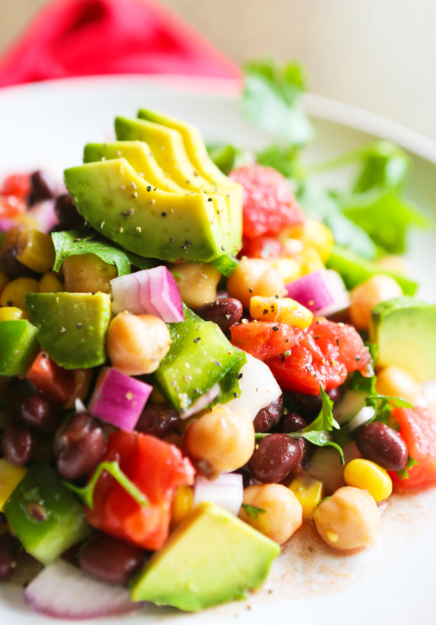 LOADED VEGGIE SALAD WITH CHICKPEAS AND BLACK BEANS