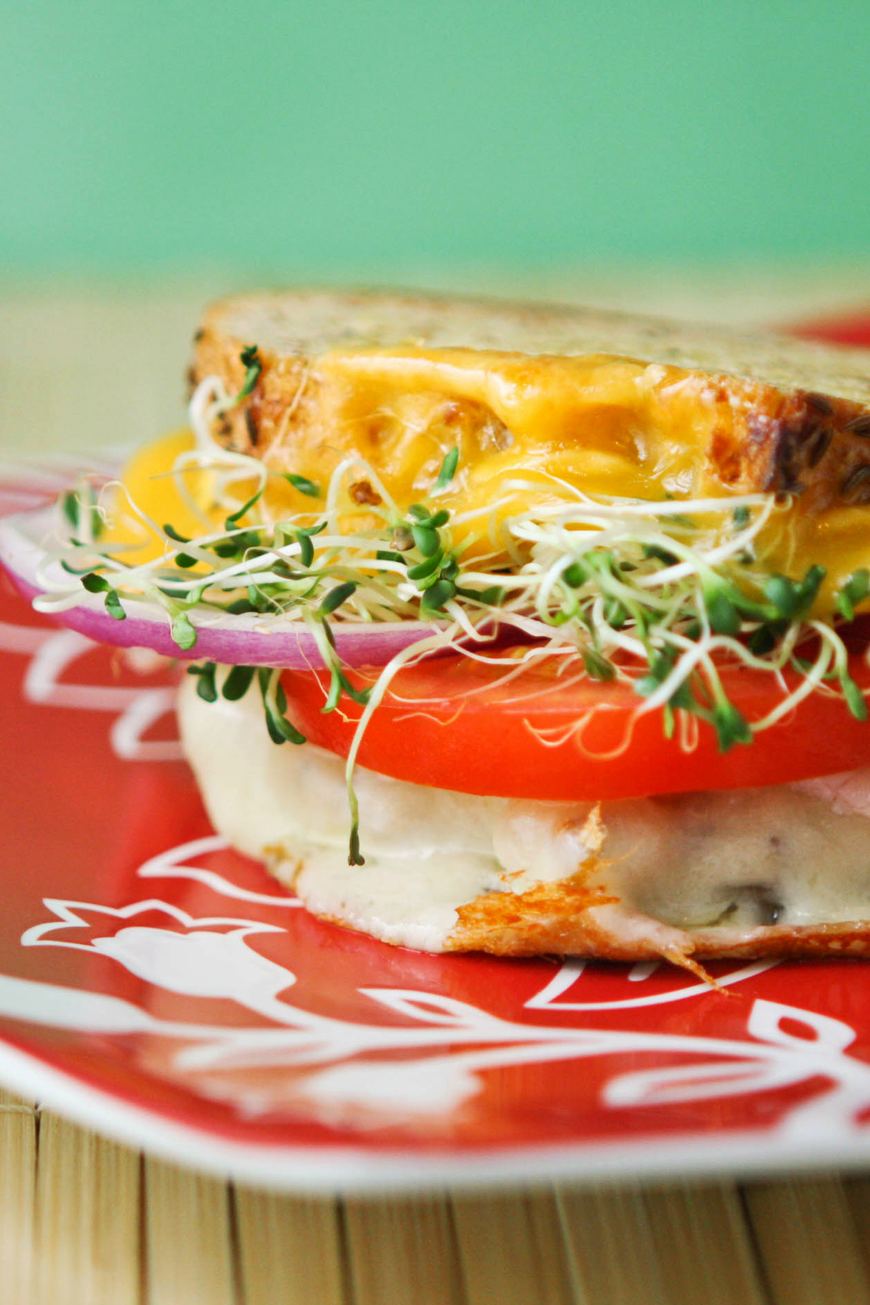 side view of a veggie grilled cheese sandwich