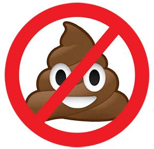 poop emoji with red strike through it