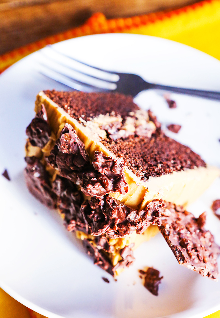 Chocolate Crunch Layer Cake Caramel Frosting