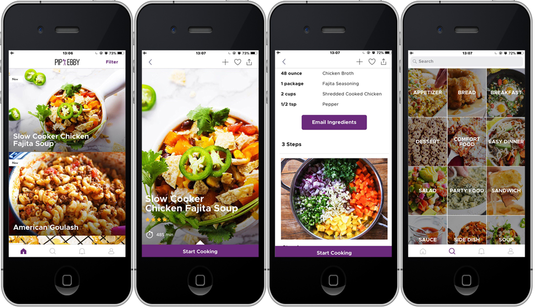 Pip and Ebby cooking app