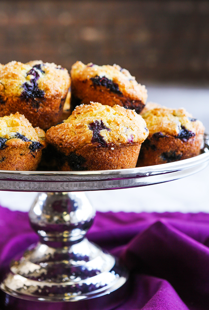 serving platter filled with baked homemade blueberry muffins