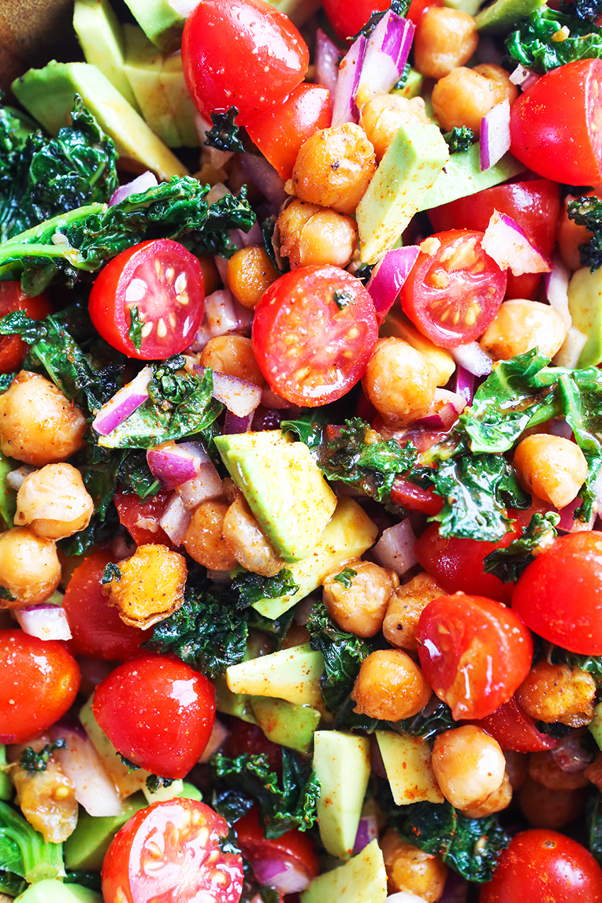 Crispy Kale and Garbanzo Bean Salad