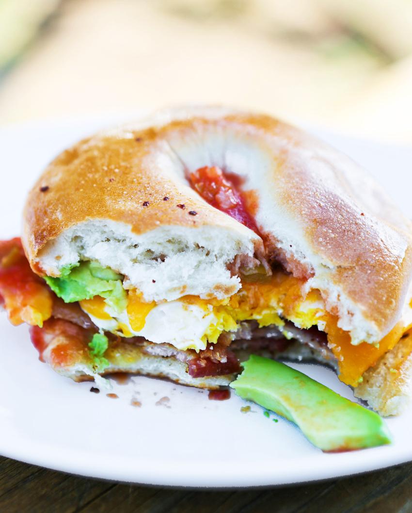 Loaded Bagel Breakfast Sandwiches