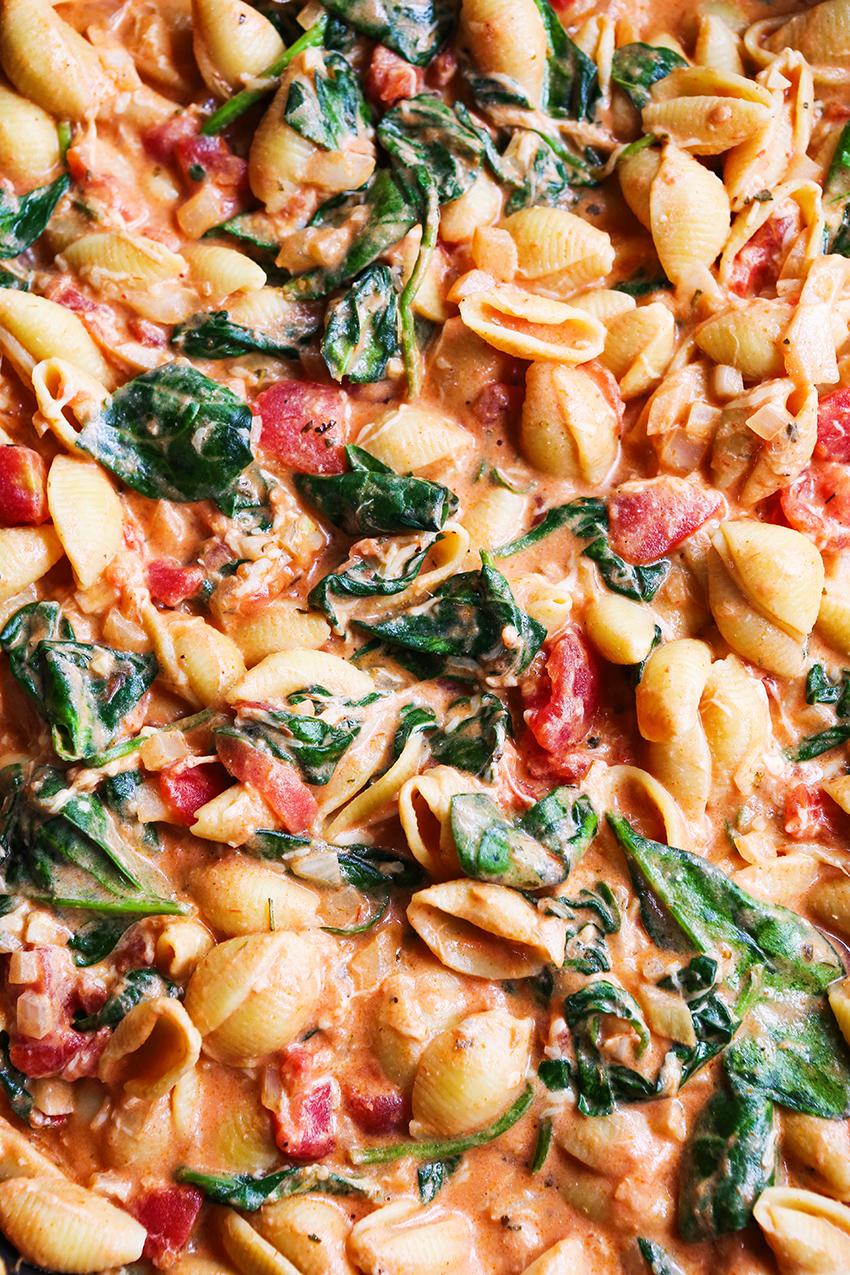 creamy tomato pasta close up with lots of sauce showing