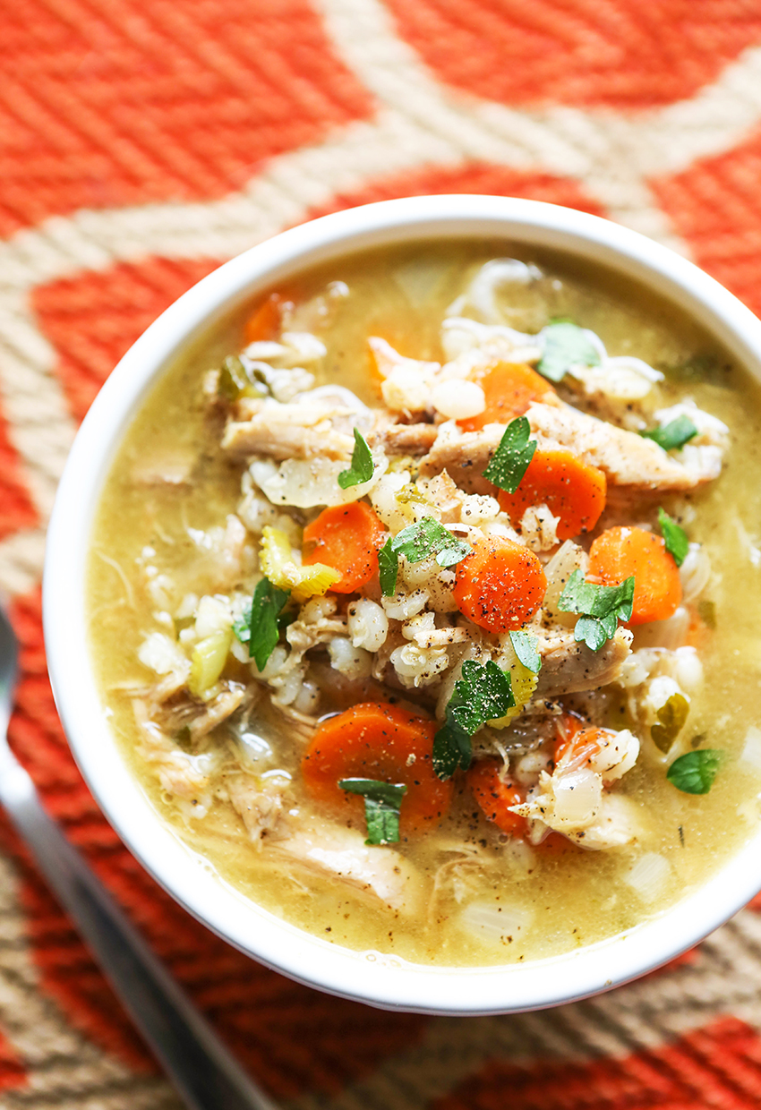 top view of a bowl of turkey barley soup