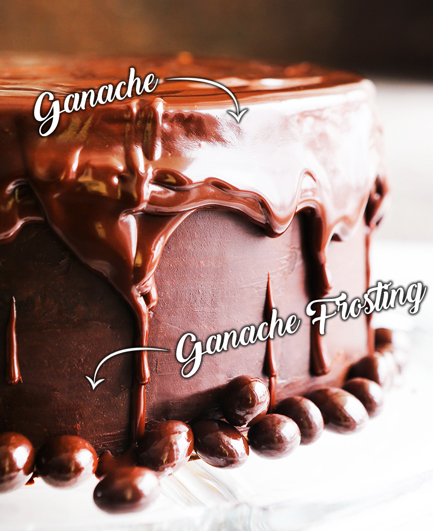 chocolate layer cake covered with frosting and dripping with chocolate ganache